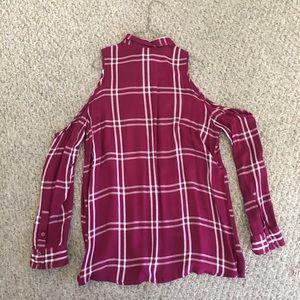 Express open shoulder flannel